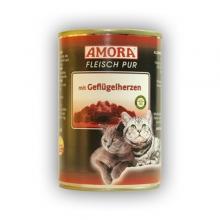 Amora Fleisch Pur Katze mit Geflügelherzen (Szárnyasszívvel) 400g