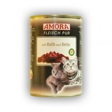 Amora Fleisch Pur Katze Kalb und Ente (Borjú- és kacsahússal) 400g