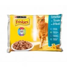 Friskies alutasakos multipack 4 x 100g (Lazac, tonhal, tőkehal, szardinia)